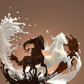 tekuté krémové mléčná a teplé hnědé čokoládové koně