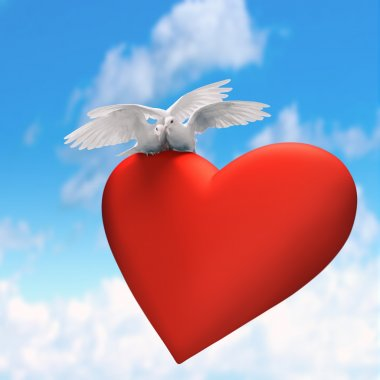 Love is two beautiful white doves with tender heart on sky backg