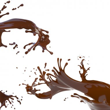 splashes of brown hot chocolate isolated