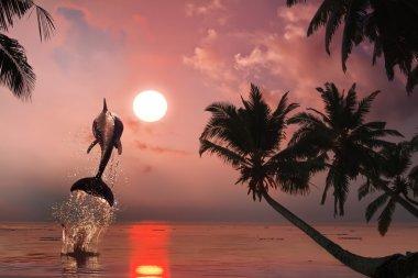 """Картина, постер, плакат, фотообои """"красивый дельфин, прыгающий с сияющей воды цветы"""", артикул 24324979"""
