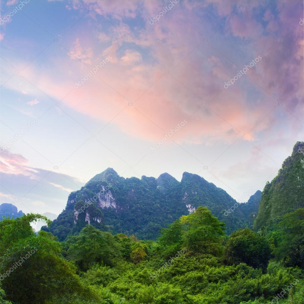 beautiful jungle sunrise time with green forest and mountains on cloudy horizon
