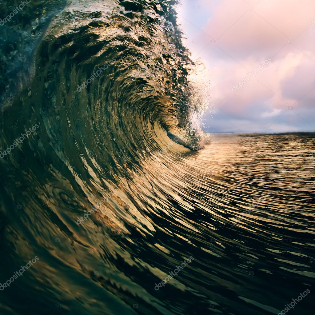 Surfing tropical design template. breaking ocean wave closing