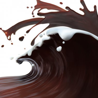 splashed brown coffee chocolate wave and white cream milk on top