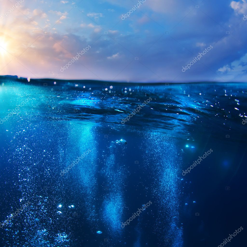 design template with underwater part and sunset skylight splitte
