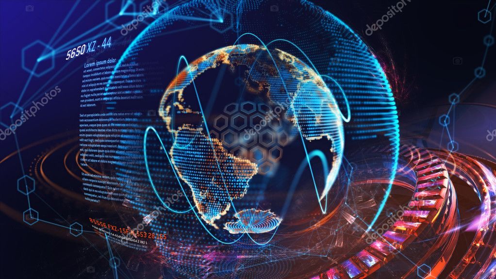 High tech digital holographic earth globe