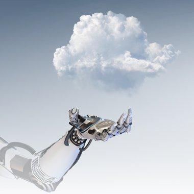 Robot arm holding smartphone