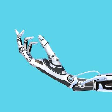 Futuristic robot holding glossy smartphone