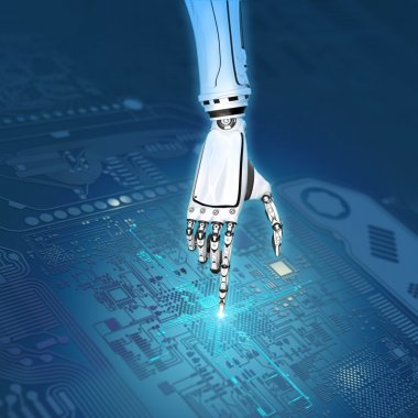 Robot hand working with circuit board
