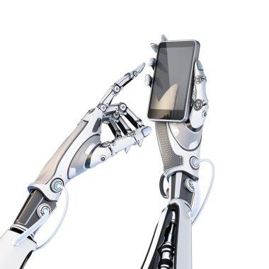 Robot holding glossy smartphone