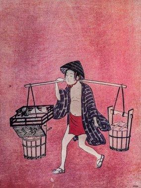 Suzuki Harunobu. Preparing for tea ceremony. Traditional japanese engraving ukiyo-e
