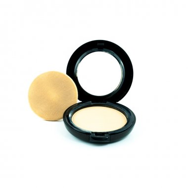 Make-up powder in box and make up brush isolated on white - Make-up powder in box isolated - Powder-case with mirror - Makeup powder with puff
