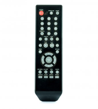 Old dirty remote console isolated on white background