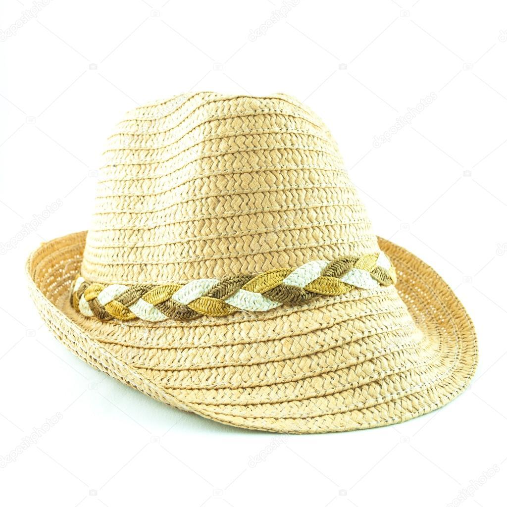 Sombrero de paja moderno mimbre aislado sobre fondo blanco — Fotos de Stock c17082e9a11