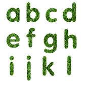 Letters a,b,c,d,e,f,g,h,i,j ,k,l made of green grass isolated on white