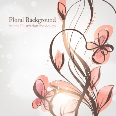Hand Drawn floral background with flowers, greeting vector card for retro design stock vector