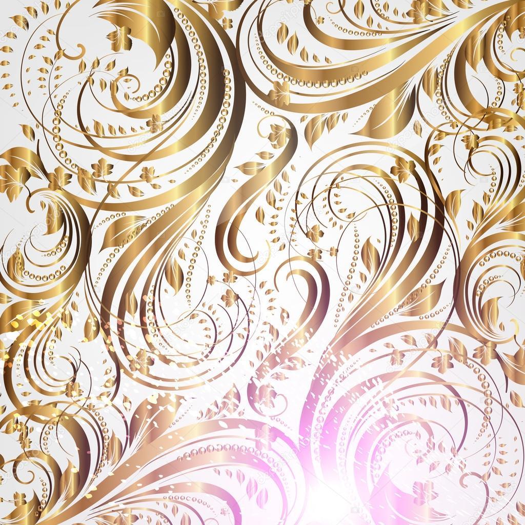 Seamless Summer Flower Wallpaper Pattern Gold Vector Stock