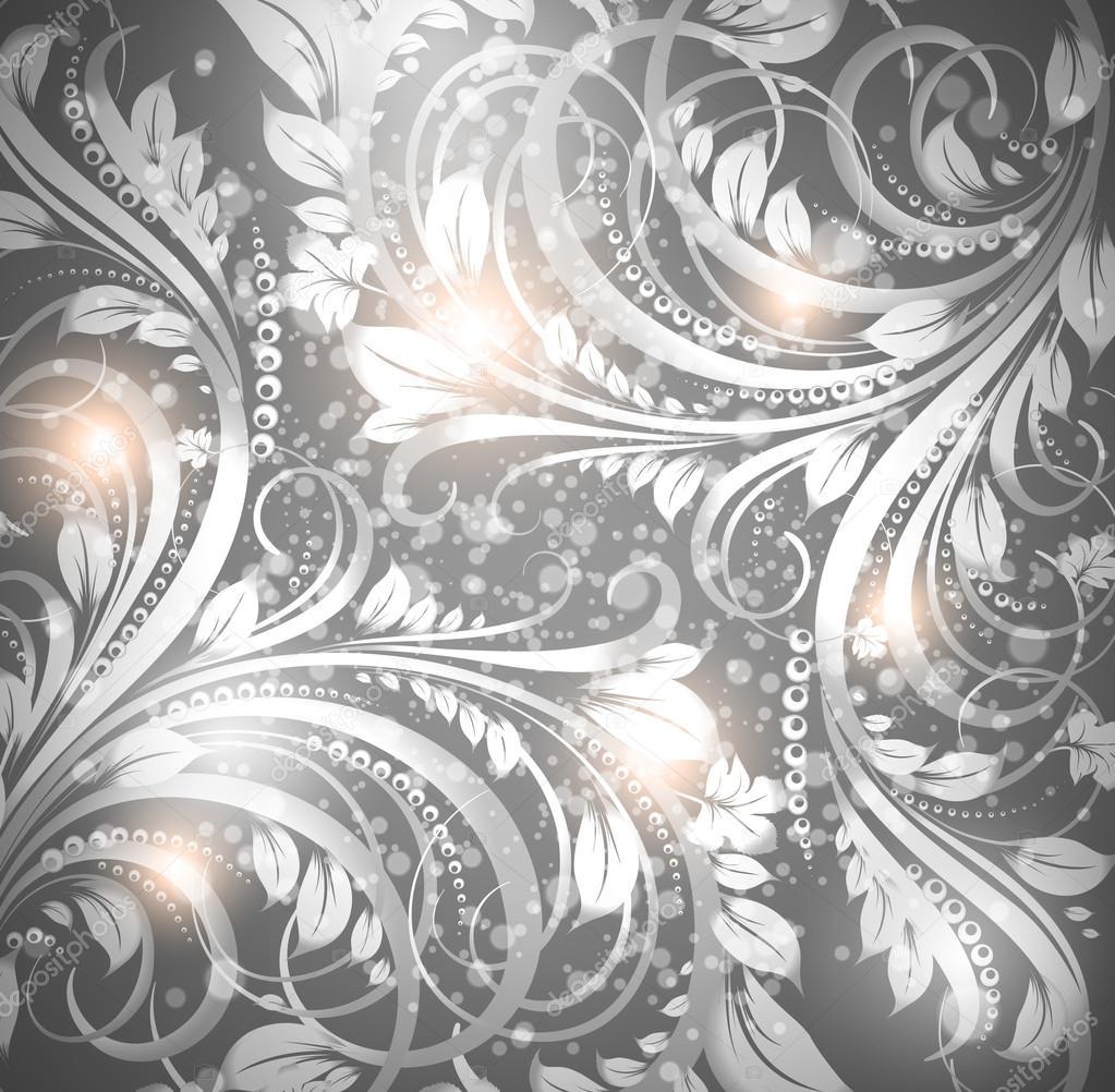 nahtlose tapete muster silber vektor stockvektor - Tapete Muster