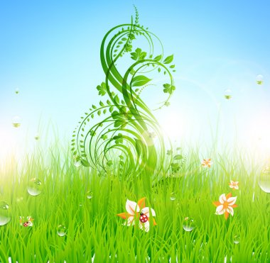 Summer vector grass wallpaper with flowers, ladybird, drops and sun shine