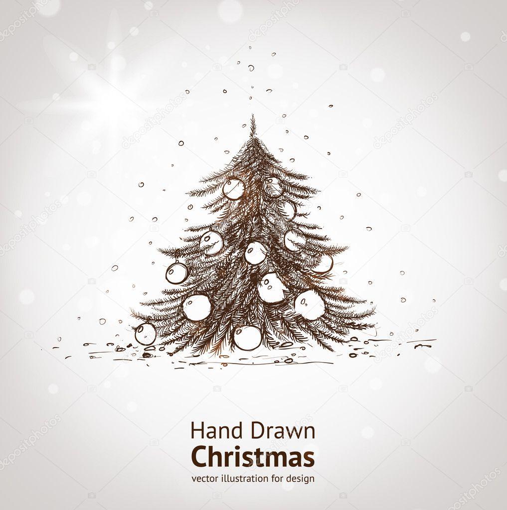 Hand drawn vintage christmas tree