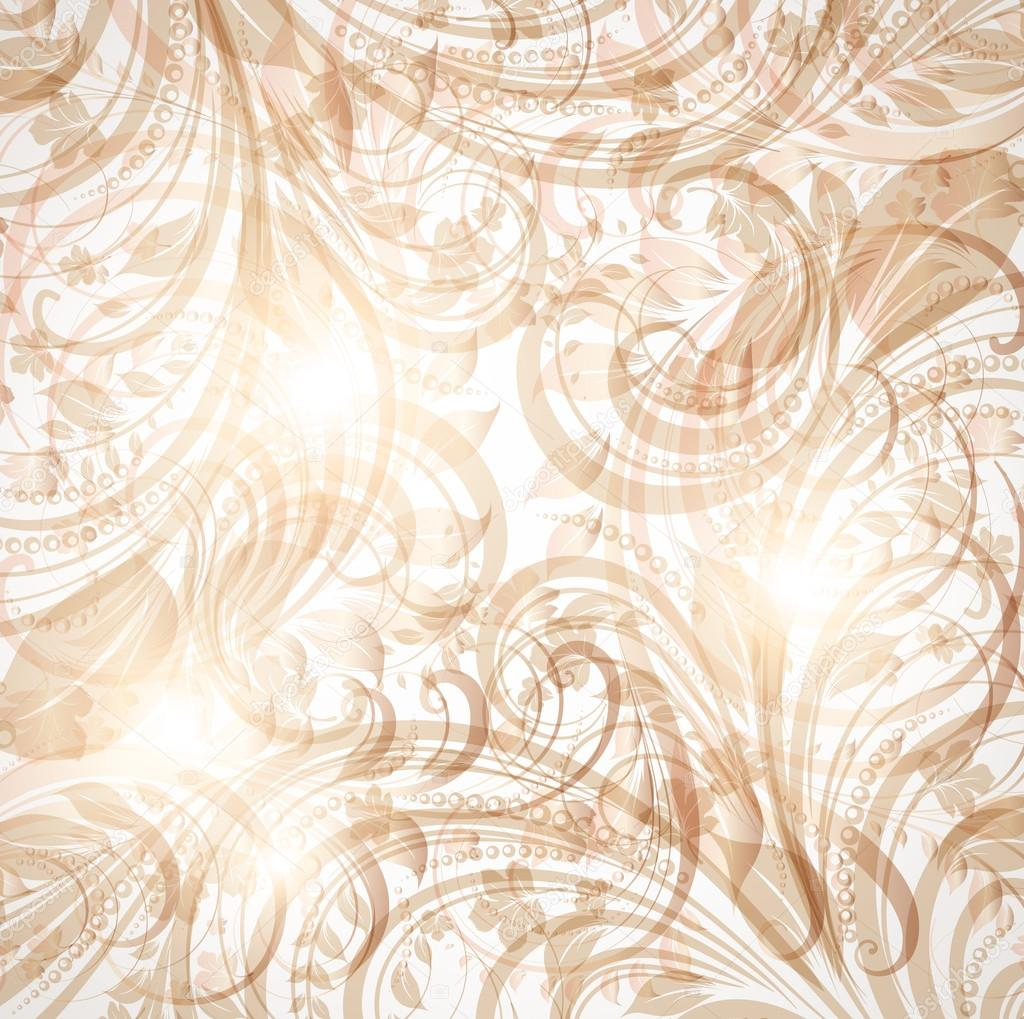 Brown Seamless wallpaper with floral ornament with leafs and flowers for vintage design