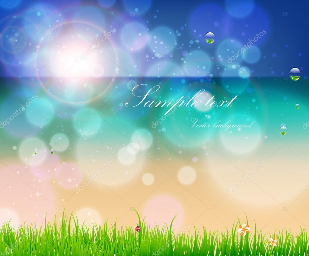 Abstract background for design. Beach with grass, flower, water drops and ladybird. Free place for text