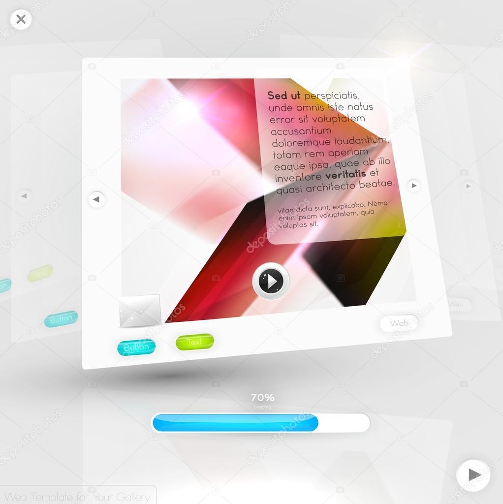 establecer elementos de carrusel de diseño web con iconos. plantilla ...