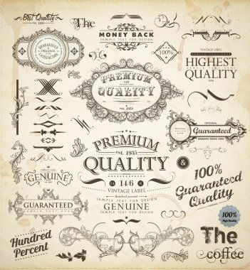 Vector set of calligraphic design elements: page decoration, Premium Quality and Satisfaction Guarantee Label, antique and baroque frames