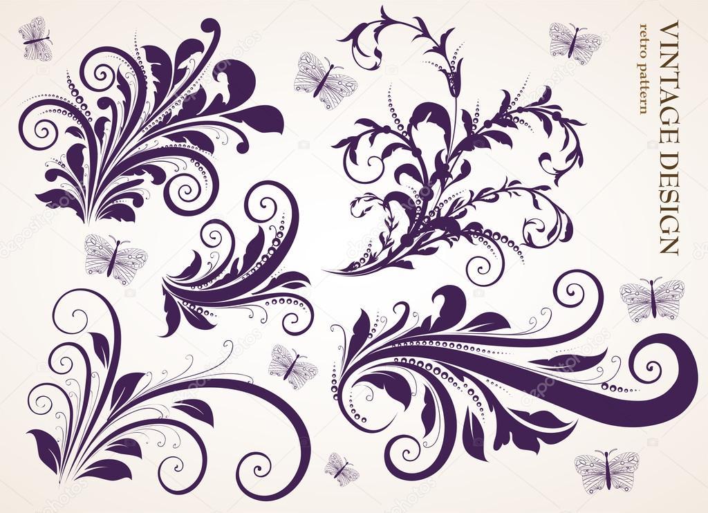conjunto de vendimia adornos de flores Vector de stock Ozerina