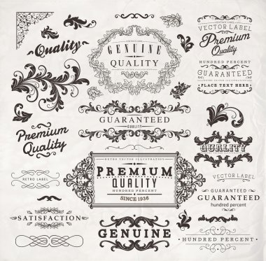 Vector set: calligraphic design elements and page decoration, Premium Quality, Seafarers and Satisfaction Guarantee Label collection with black grungy design and flowers