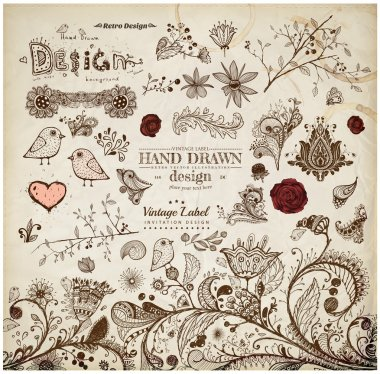 Hand Drawn floral ornaments with flowers and birds. Love elements.