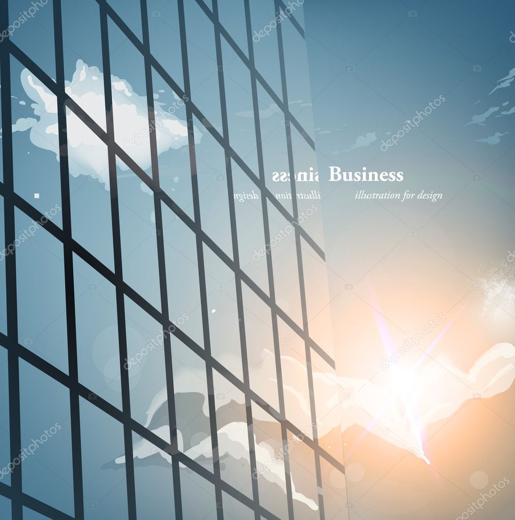 Morning view to perspective glass building vector