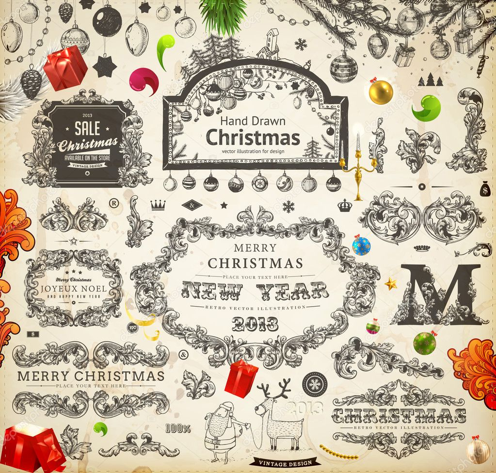 Vintage Bilder Weihnachten.Weihnachten Dekoration Sammlung Satz Von Kalligrafischen Und