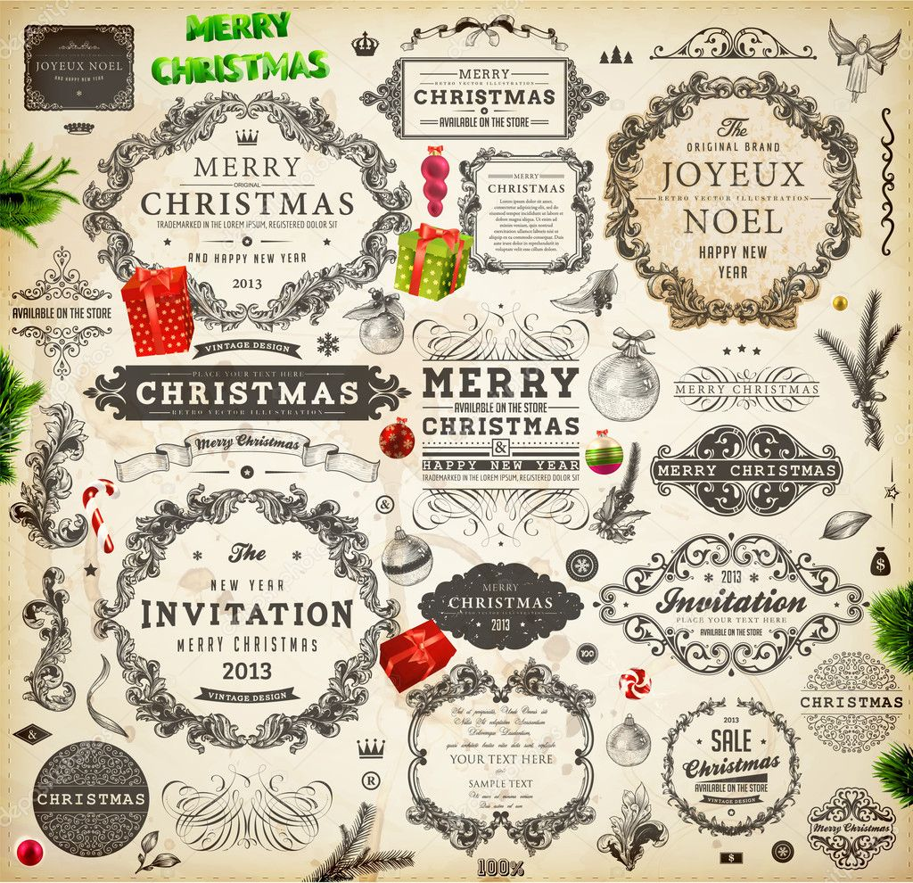 Christmas decoration collection. Set of calligraphic and typographic elements, frames, vintage labels. Ribbons, stickers, Santa and angel. Hand drawn christmas balls, fur tree branches and gifts.