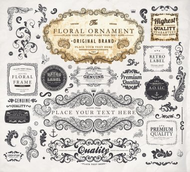 Vector set: calligraphic design elements and page decoration, Premium Quality, Seafarers and Satisfaction Guarantee Label collection with black grungy design and flowers clip art vector