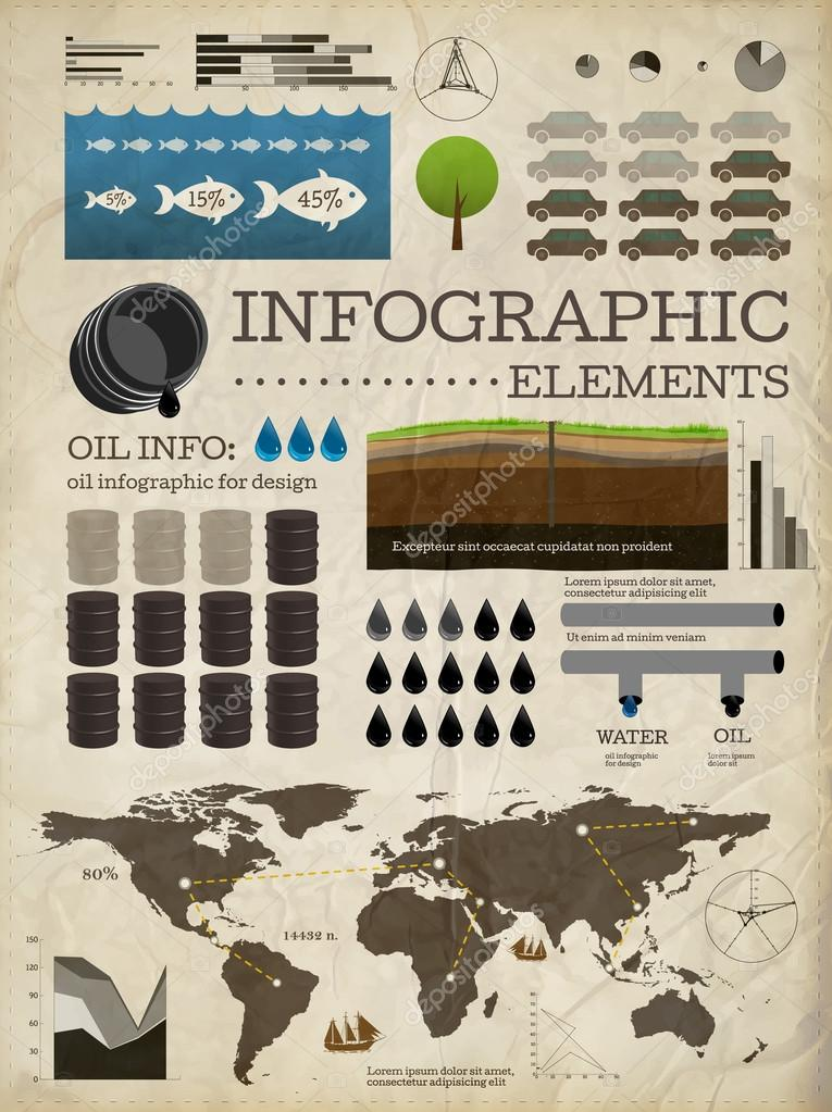 Set of infographics elements. Old paper texture . Vintage style design. Oil icons