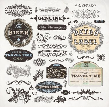 Retro label style collection. vintage page elements set
