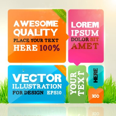 Abstract template design for business background. Colorful cubes with ribbons with place for text. Grass, water drops and sun shine for fresh business design