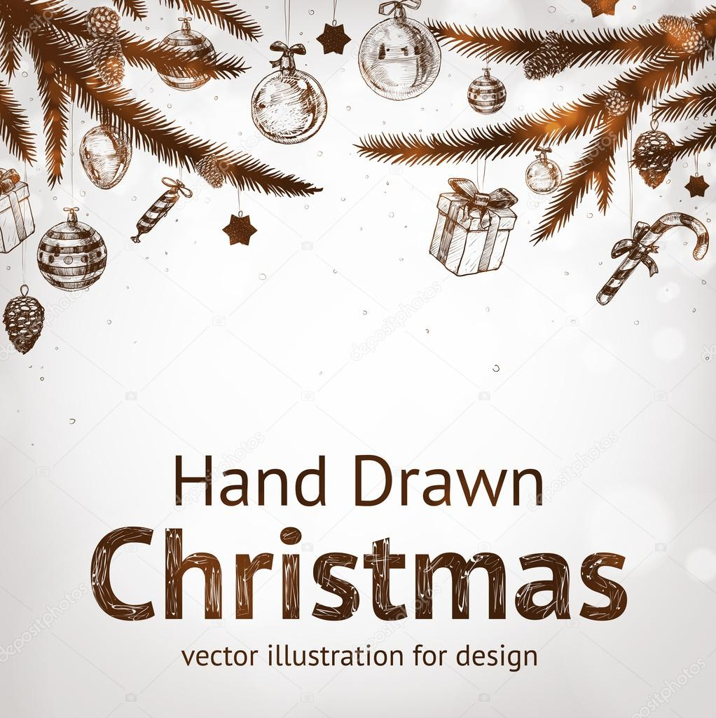Christmas hand drawn fur tree for xmas design. With balls, gifts, toys and fir-cone.
