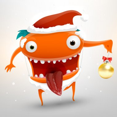 Funny character dressed as Santa with a New Year's ball in hand for holiday design, vector illustration