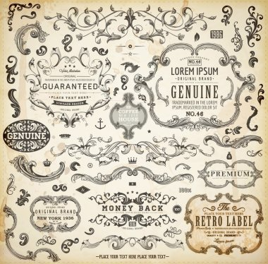 Calligraphic design elements, page decoration, retro labels and frames set for vintage design Old paper grunge texture