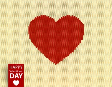 Knitted vector pattern with red heart for Valentines day design