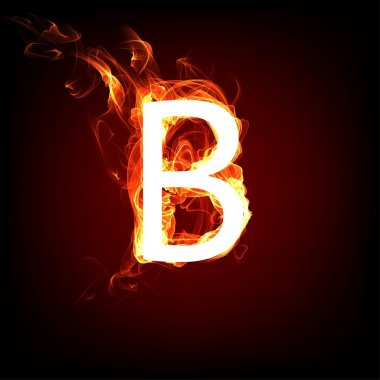Fiery font for hot flame design. Letter B