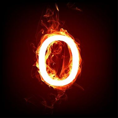 Fiery font for hot flame design. Letter O