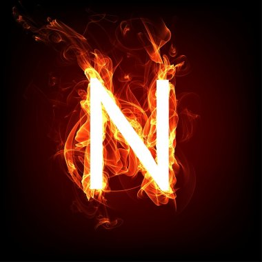 Fiery font for hot flame design. Letter N