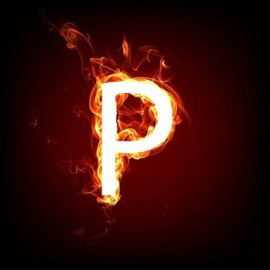 Fiery font for hot flame design. Letter P