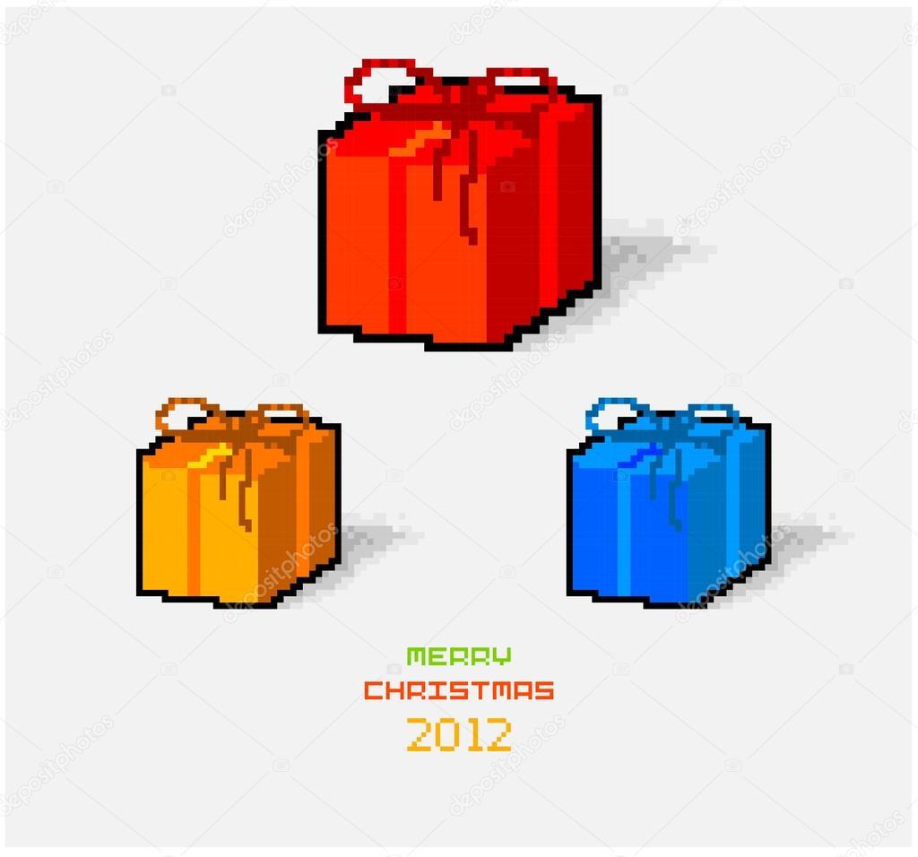 Pixel Art Noel Cadeau.Vector Noël Carte De Pixel Art Avec Noël Cadeaux Jeu Image