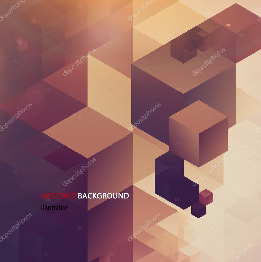Abstract retro cubes background, vector illustration