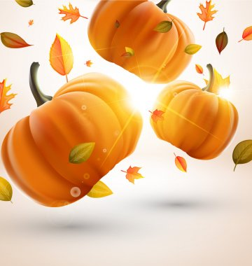 Abstract fly leafs and pumpkins vector autumn background