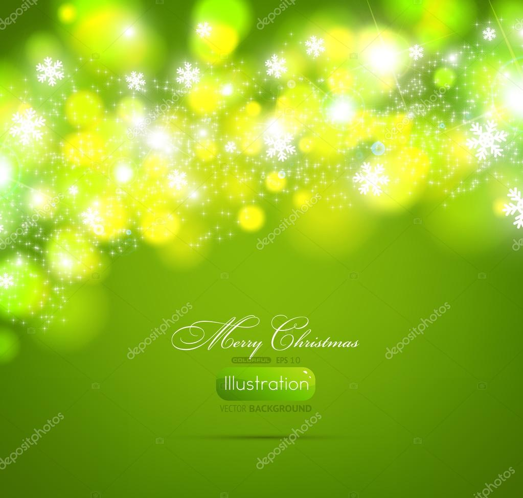 Christmas green background light and snowflakes vector background for Xmas winter design.