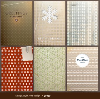 Seamless wallpaper set for vector retro Christmas background, old paper texture with snowflakes